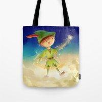 peter pan Tote Bags featuring Peter Pan by CodiBear