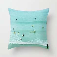Surfing vintage. Summer dreams Throw Pillow