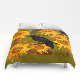 CROW & SUNFLOWERS KHAKI ART Comforters