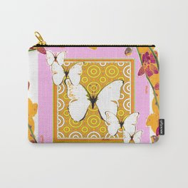 White Butterflies Orchid Sprays Purple Lilac-Gold Patterns Carry-All Pouch