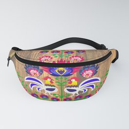 Folk cockrells and flowers Fanny Pack