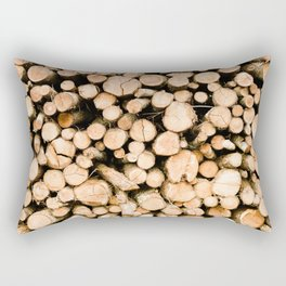 Pile of Logs, Stacked Wood, Forest Trees, Lumber - Travel Nature Photography Rectangular Pillow