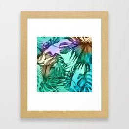 Simply Palm Leaves in Hologram Island Green Framed Art Print