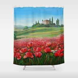 Italian Poppy Field Shower Curtain