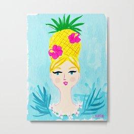 Pineapple Girl Metal Print