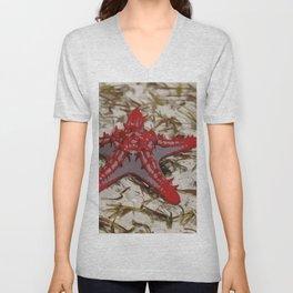 Ocean Red Starfish Illustration Unisex V-Neck