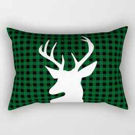 Elegant Green Plaid Deer Design Rectangular Pillow