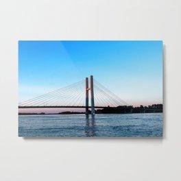 Mississippi River at Burlington, Iowa at Sunset Metal Print