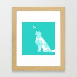 Golden Retriever on Turquoise Color Framed Art Print