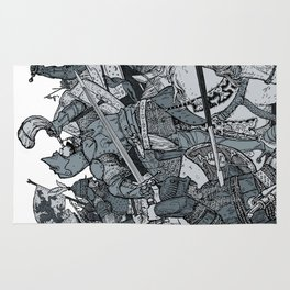 Saturday Knight Special STEEL BLUE / Vintage illustration redrawn and repurposed Rug