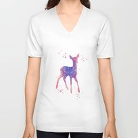 fawn V-neck T-shirts featuring Fawn by Carma Zoe