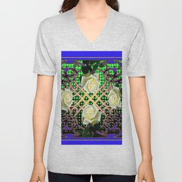 BLUE-GREEN WHITE ROSE GARDEN  TAPESTRY ART Unisex V-Neck