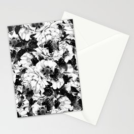 night and day flowers butterflies pattern black white Stationery Cards