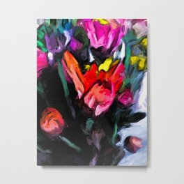 Flower of Red with Rainbow Flowers 1 Metal Print