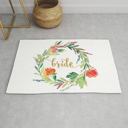 Bride Gold Typography Flowers Wreath Rug