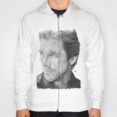 Christian Bale Traditional Portrait Print Hoody