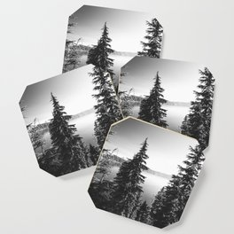 Mountain Lake Forest Black and White Nature Photography Coaster