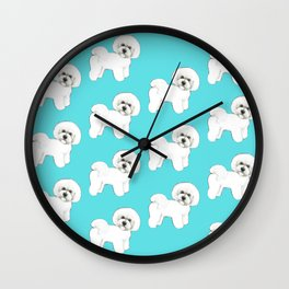 Bichon Frise on aqua / teal / cute dogs/ dog lovers gift Wall Clock