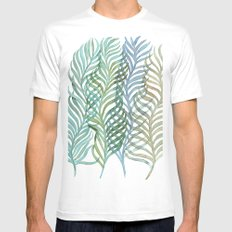 Watercolor Ferns MEDIUM Mens Fitted Tee White
