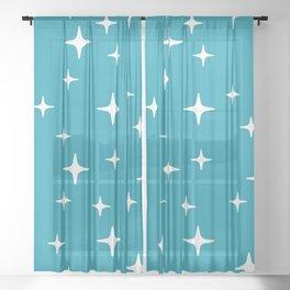 Mid Century Modern Star Pattern 443 Turquoise Sheer Curtain