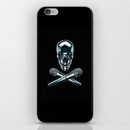 Pirate tunes / 3D render of skull and cross bones with microphones iPhone Skin