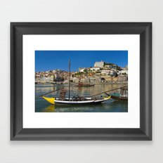 Port wine barges on the Douro, Porto Framed Art Print