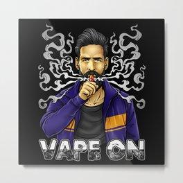 Vape On Illustration | Bearded Vaper | Mech Mod Metal Print