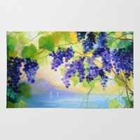 italy Area & Throw Rugs featuring Grapes Italy by OLHADARCHUK