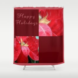 Mottled Red Poinsettia 2 Happy Holidays Q10F1 Shower Curtain