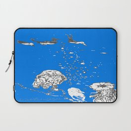 Two Tailed Duck and Jellyfish Royal Brilliant Blue Laptop Sleeve