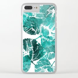 Mint green flora Clear iPhone Case
