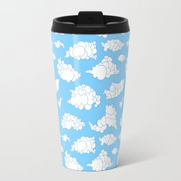 White fluffy clouds pattern Travel Mug