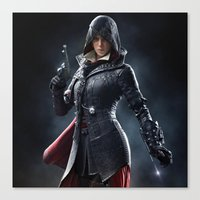 assassins creed Canvas Prints featuring Female Assassins Creed by Tom Lee