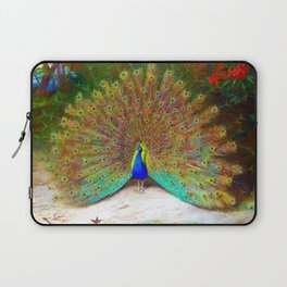 12,000pixel-500dpi - Archibald Thorburn - Peacock and Peacock Butterfly - Digital Remastered Edition Laptop Sleeve