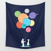 banksy Wall Tapestries featuring You are my universe by I Love Doodle