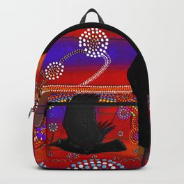 Sunset on Lake Wendouree - Australian Aboriginal Art Theme Backpack