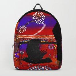 Sunset on Lake Wendouree - Australian Aboriginal Art Theme Backpack