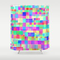 tetris Shower Curtains featuring Overlapping Tetris  by Saif Chowdhury