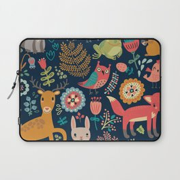 Blue Woodland Critters Pattern Laptop Sleeve