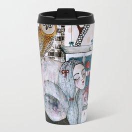 """Owl""  Illustrated print Travel Mug"