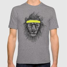 hipster lion Tri-Grey SMALL Mens Fitted Tee