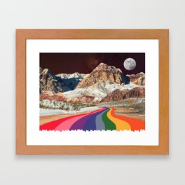 Retro Road Curves // Red Rock Canyon Collage Milky Way Galaxy Stars Moon 1960s Colors Framed Art Print