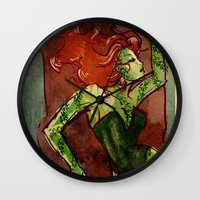 poison ivy Wall Clocks featuring Poison Ivy  by Sako Tumi