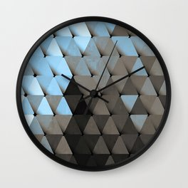 Triangles Blue Putty Wall Clock