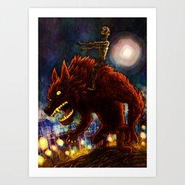 Zombie on Warewolf Art Print