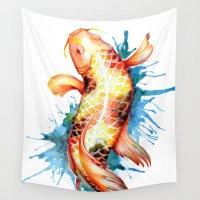 koi fish Wall Tapestries featuring Koi Fish by Sam Nagel