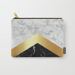 Arrows - White Marble, Gold & Black Granite #147 Carry-All Pouch