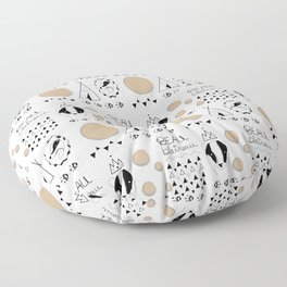 Pattern with badger and tipi Floor Pillow