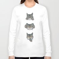 evil Long Sleeve T-shirts featuring No Evil Cat by Huebucket
