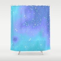 8bit Shower Curtains featuring Twilight Nebula (8bit) by sp8cebit